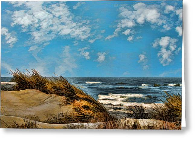 Windswept Dunes And Rising Tides  Greeting Card by Elaine Plesser