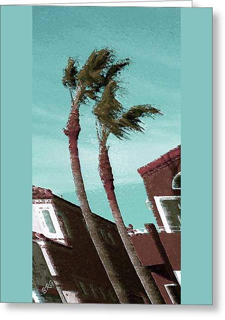 Windy Day By The Ocean  Greeting Card