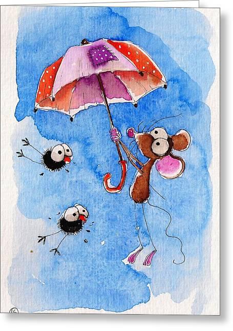 Windy Days Greeting Card by Lucia Stewart