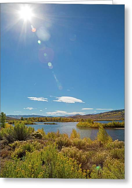 Windy Gap Reservoir Greeting Card by Jim West/science Photo Library
