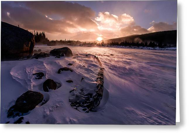 Greeting Card featuring the photograph Windy Sunrise by Steven Reed