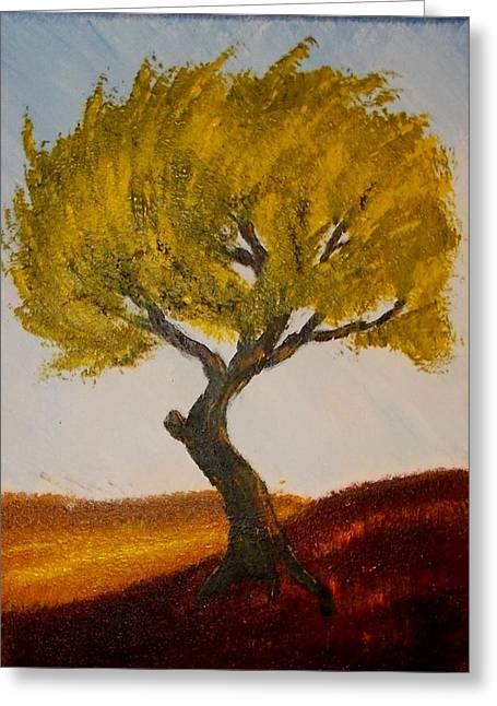 Greeting Card featuring the painting Windy Tree by Zeke Nord