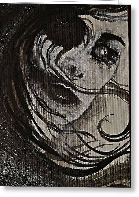 Greeting Card featuring the painting Windyblack by Sandro Ramani