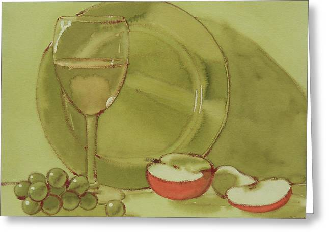 Wine And Apple Greeting Card