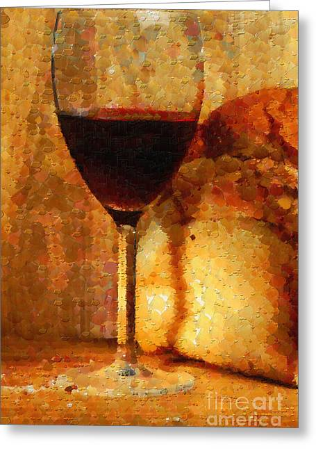 Wine And Bread Loaf Painting Greeting Card