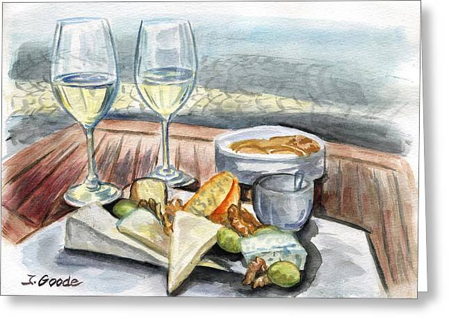 Wine And Cheese Greeting Card by Jana Goode