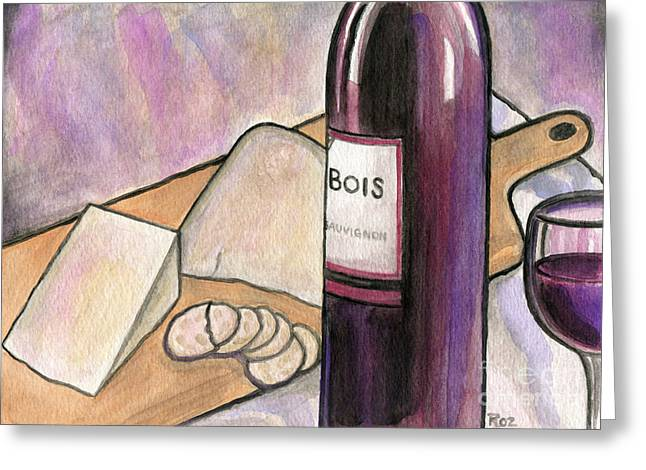 Wine And Cheese Tonight Greeting Card by Roz Abellera Art
