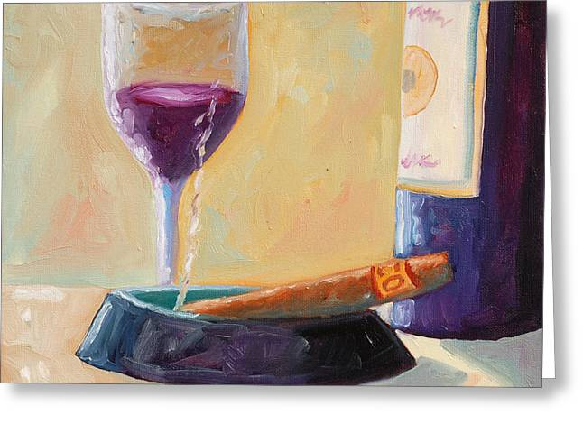 Wine And Cigar Greeting Card by Todd Bandy