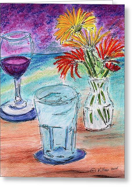 Wine And Flowers 2 Greeting Card
