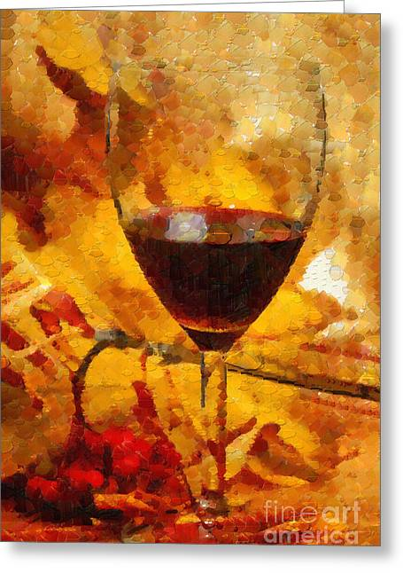 Wine And Leaves Painting Greeting Card