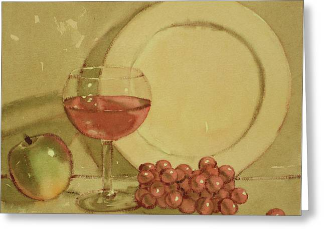 Wine And Plate Greeting Card