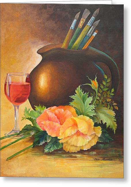 Wine And Poppies Greeting Card by Beverly Martin