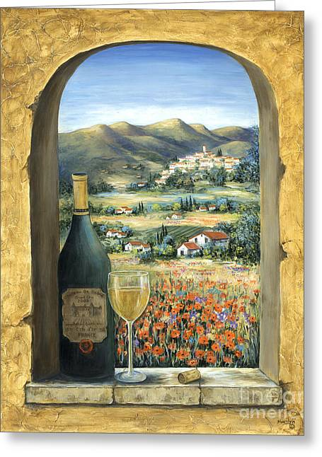 Wine And Poppies Greeting Card by Marilyn Dunlap