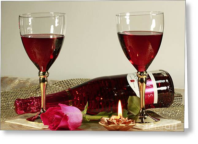 Wine And Rose By Candlelight Greeting Card
