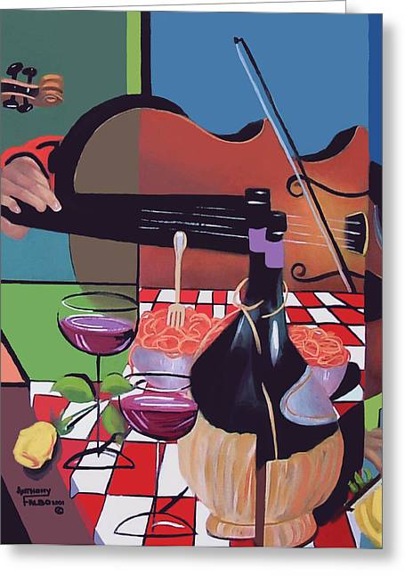 Greeting Card featuring the painting Wine And Roses by Anthony Falbo