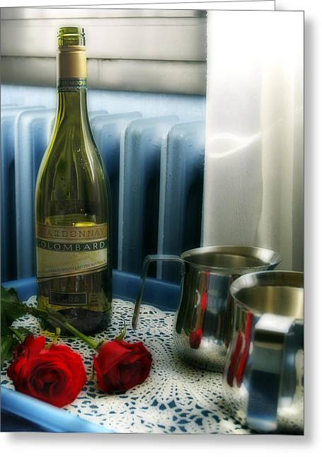 Red Roses And Chardonay Bottle Greeting Card