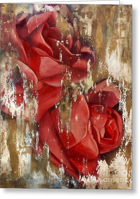 Wine And Roses Greeting Card by Rebecca Glaze