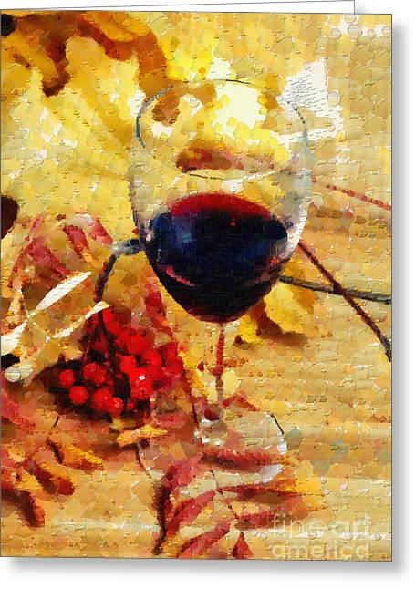Wine And Yellow Leaves Painting Greeting Card