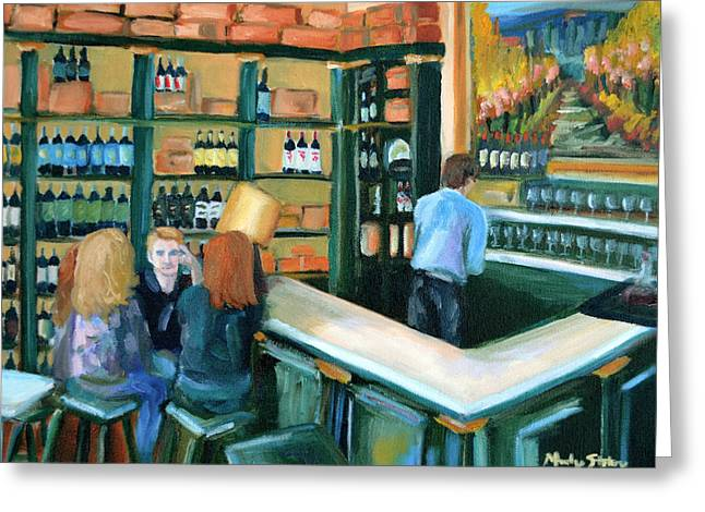 Wine Bar Rendezvous Greeting Card by Mandy Stohry