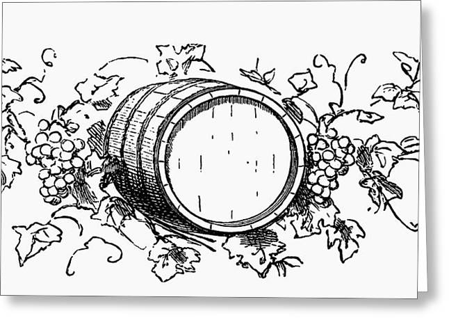 Wine Barrel Among Grapes And Vine Leaves (illustration) Greeting Card