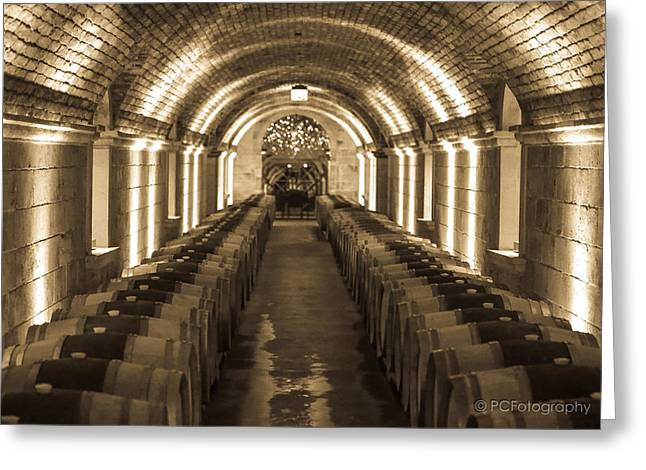 Wine Barrel Barrage Greeting Card by Preston Fiorletta
