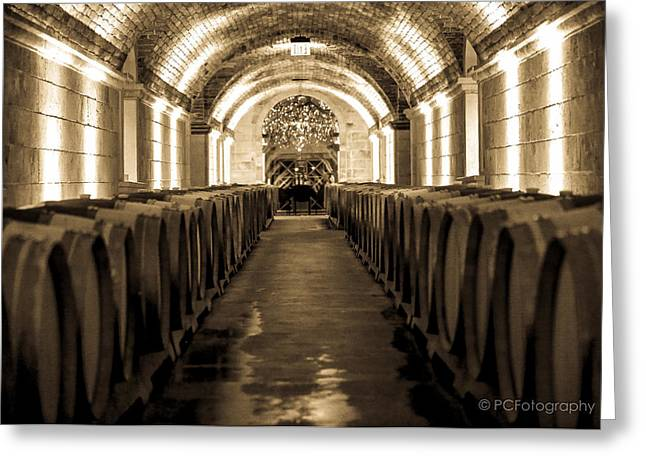 Wine Barrel Boulevard Greeting Card by Preston Fiorletta