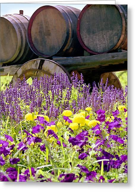 Wine Barrels At V. Sattui Napa Valley Greeting Card by Michelle Wiarda