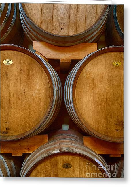 Wine Barrels Greeting Card by Michele Steffey