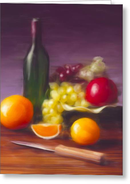 Wine Bottle And Fruit Greeting Card