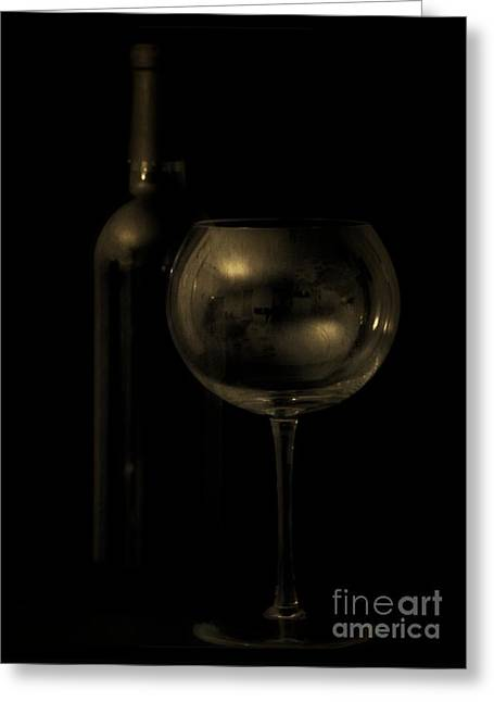 Wine Bottle Still Life Deep Red Greeting Card by Edward Fielding