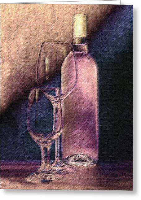 Wine Bottle With Glasses Greeting Card by Tom Mc Nemar