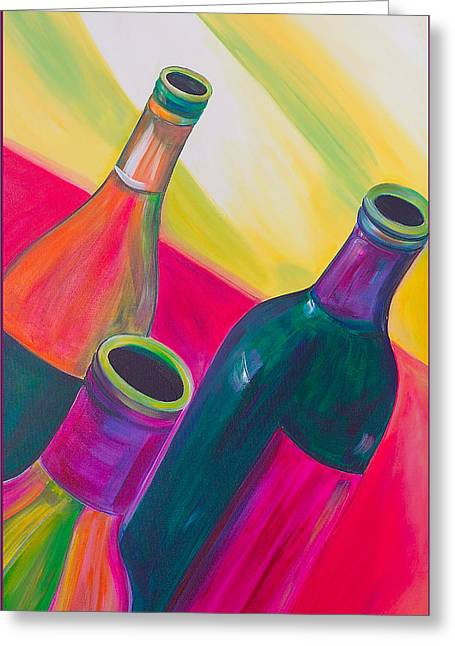 Wine Bottles Greeting Card by Debi Starr