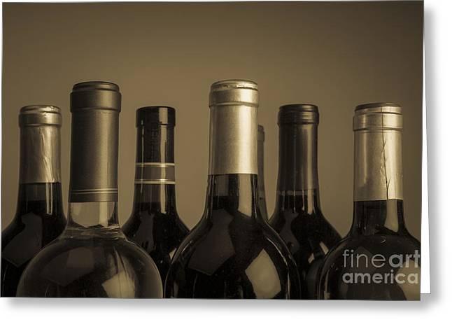 Wine Bottles Greeting Card by Diane Diederich