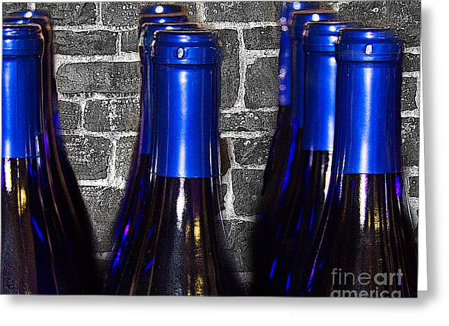 Wine Bottles Greeting Card by Tom Gari Gallery-Three-Photography