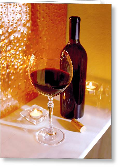 Wine By Candlelight   Greeting Card by Jon Neidert