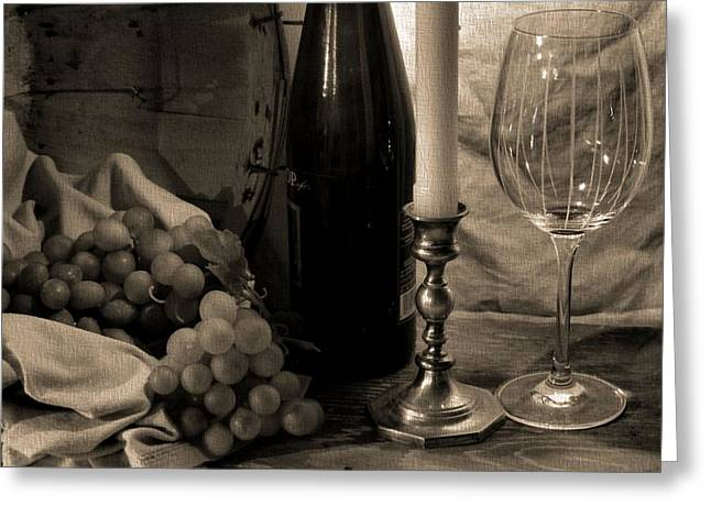 Wine By Candlelight Greeting Card