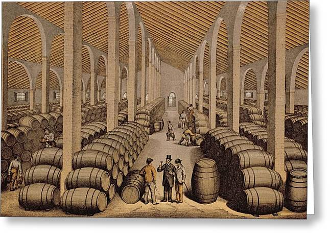 Wine Cellar At Jerez De La Frontera  Greeting Card by Spanish School