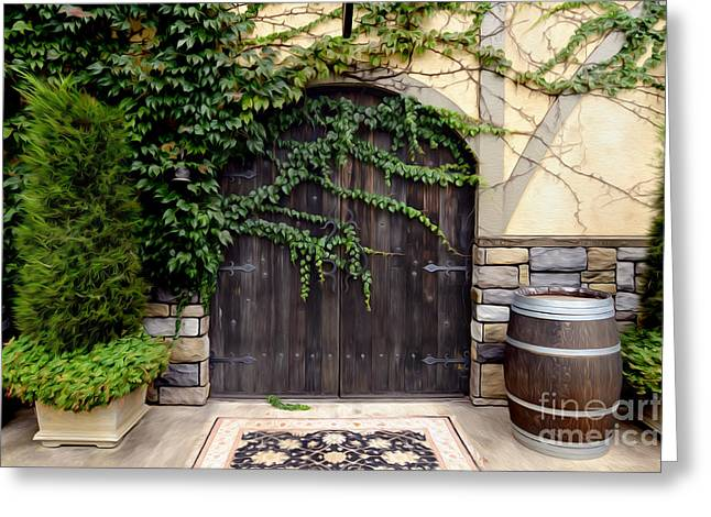 Wine Cellar Doors Greeting Card by Jon Neidert