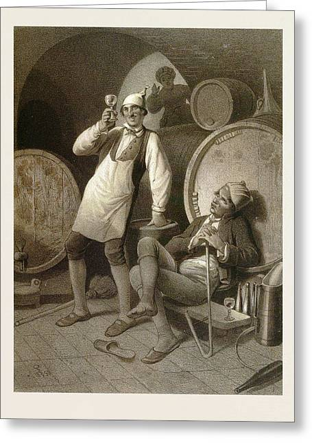 Wine Cellar, Drinking A Glass Of Wine, Two Men, Wine Greeting Card by English School