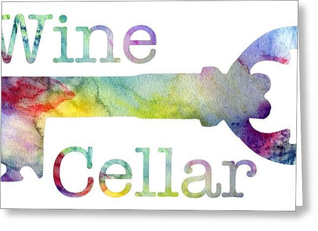 Wine Cellar Watercolor Greeting Card