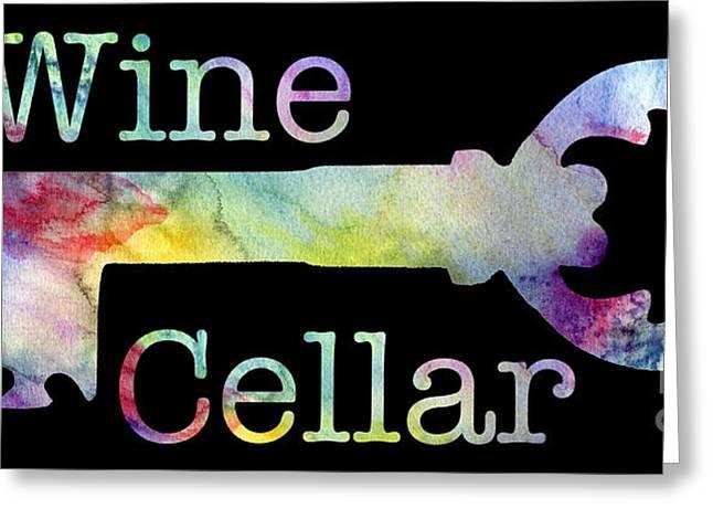 Wine Cellar Watercolor On Black Greeting Card by Jon Neidert