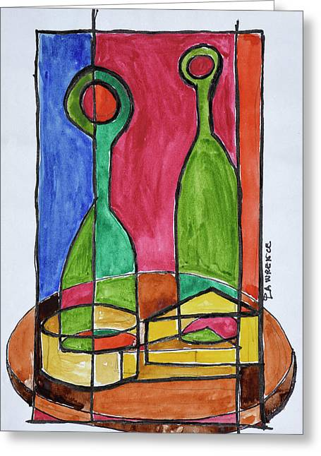 Wine, Cheese And Baguette Lunch, Paris Greeting Card