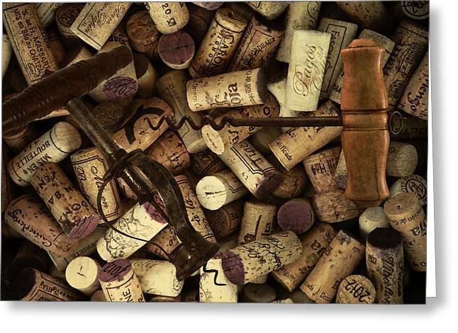 Fine Wine Corks And Screws Greeting Card by Daniel Hagerman