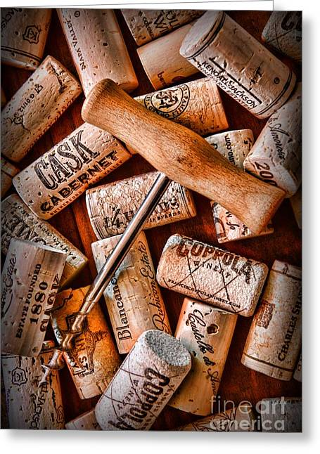 Wine Corks With Corkscrew Greeting Card by Paul Ward