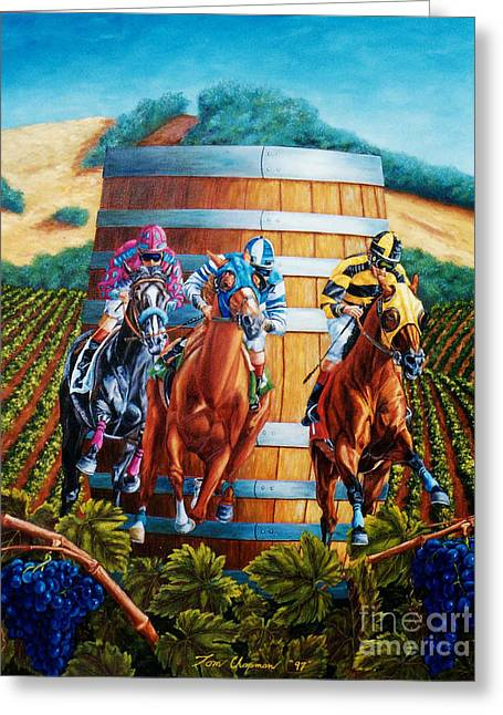 Wine Country Barrel Racing Greeting Card
