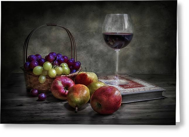 Wine, Fruit And Reading. Greeting Card by Fran Osuna