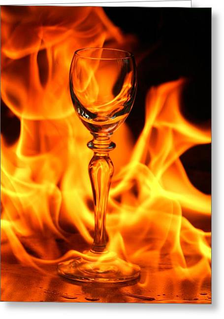 Wine Glass On Fire Greeting Card