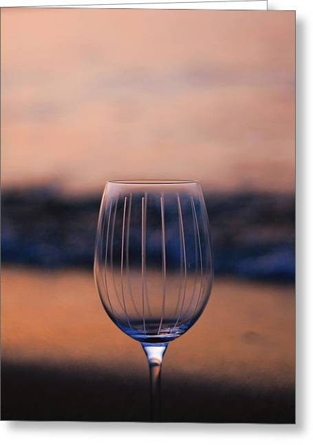 Wine Glass On The Beach At Sunset Greeting Card