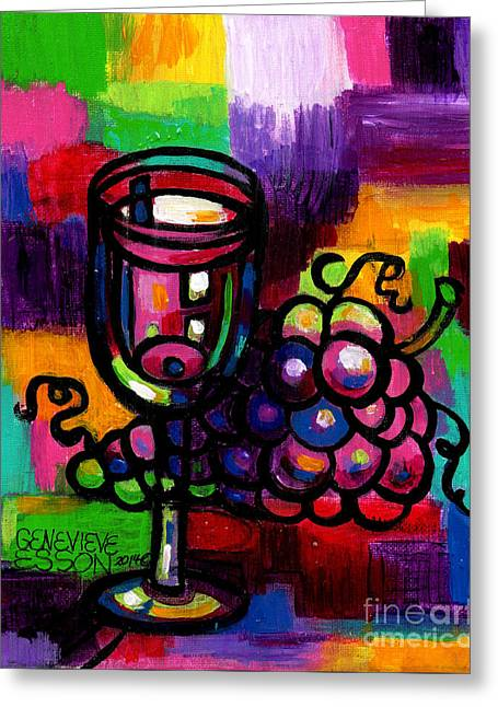 Wine Glass With Grapes Abstract Greeting Card by Genevieve Esson