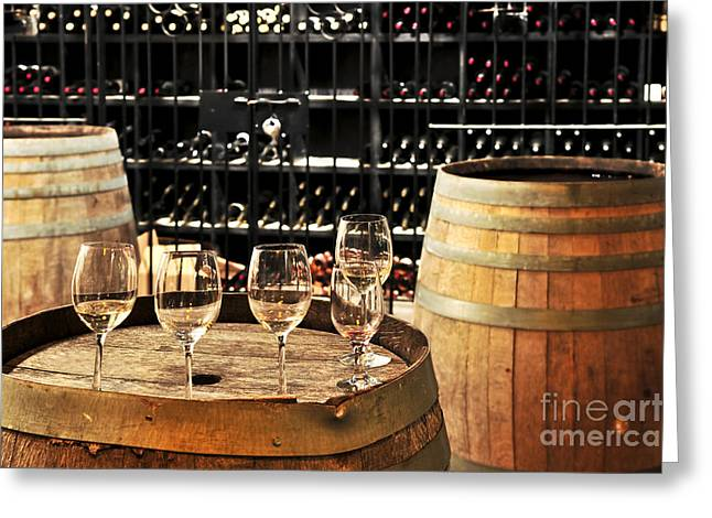 Wine Glasses And Barrels Greeting Card